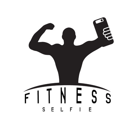 defined: man of fitness silhouette character make selfie vector design template Illustration
