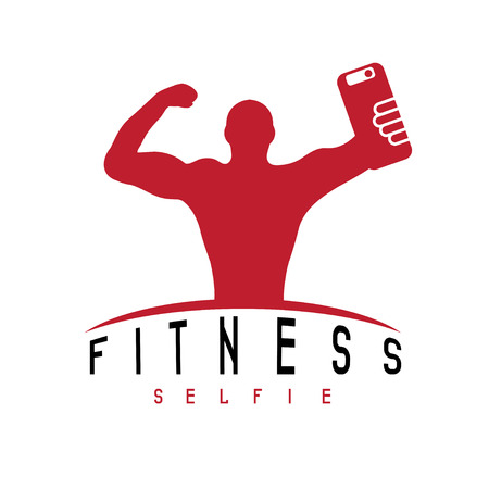 contest: man of fitness silhouette character make selfie vector design template Illustration