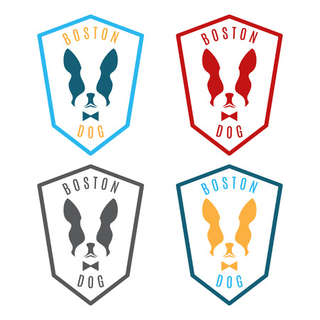 boston terrier: Illustration of set labels with boston terrier. Emblem for the Boston city. Vector Illustration