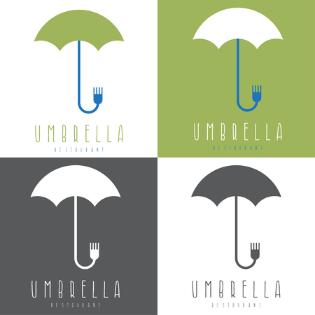 patio furniture: umbrella with fork vector design illustrations set Illustration