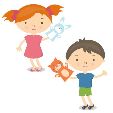 Illustration petits enfants avec marionnette jouet. Vecteur