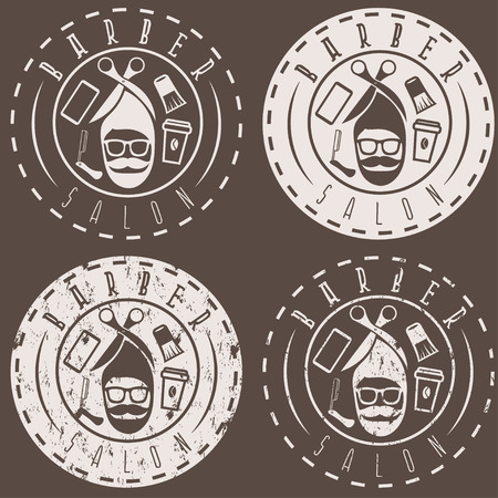 cutthroat: hipster style vector labels of barber salon