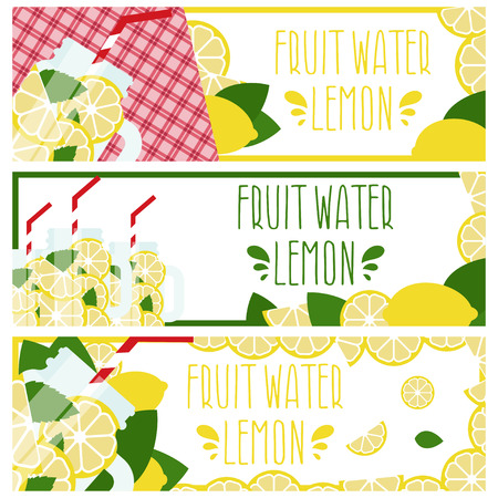 fruit water: Set of banners with bright fruit water in mason jar with lemons .Vector illustration