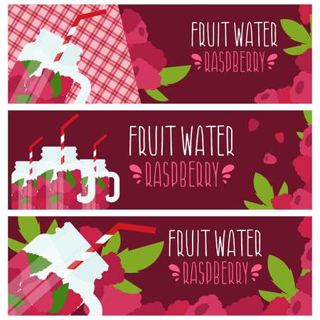 fruit water: Set of banners with bright fruit water in mason jar with raspberries .Vector illustration Illustration