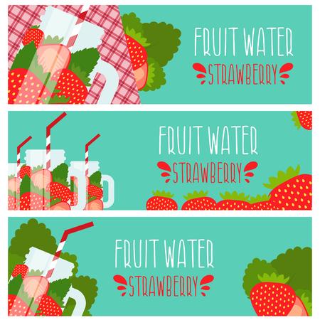 Satz von Banner mit hellem Fruchtwasser in Einmachglas mit Erdbeeren-Illustration