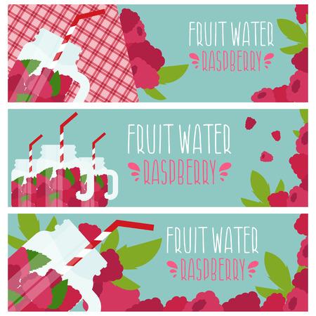 Satz von Banner mit hellem Fruchtwasser in Einmachglas mit Himbeeren-Illustration