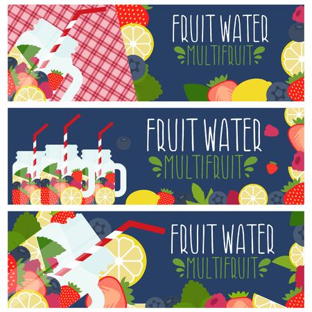 Satz von Banner mit hellem Fruchtwasser in Einmachglas mit Erdbeeren, Himbeeren, Zitronen, Heidelbeeren, Himbeeren-Illustration