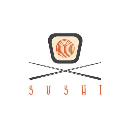 finger fish: sushi fingerprint with chopsticks concept vector design template Illustration