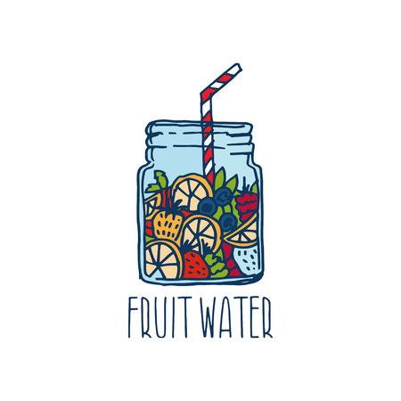 Hand gezeichnet Symbol mit Fruchtwasser in mason mit Beeren Glas. Vektor-Illustration