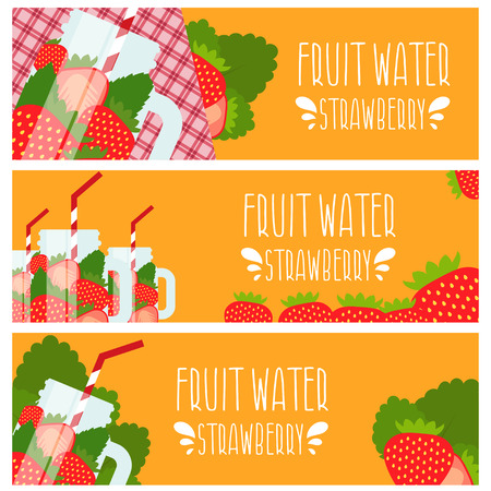 fruit water: Set of banners with bright fruit water in mason jar with strawberries .Vector illustration