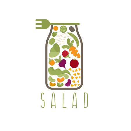 beans and rice: salad in jar with fork vector design template Illustration