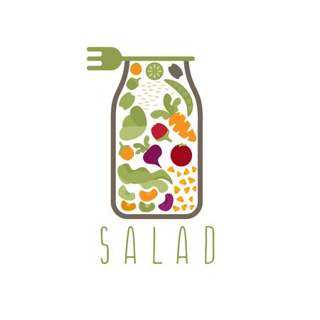 insalata in vaso con modello di progettazione forchetta vettore