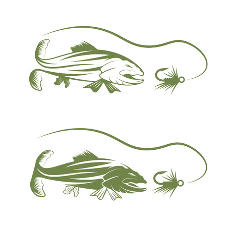 trout fishing: trout and lure fishing vector design template