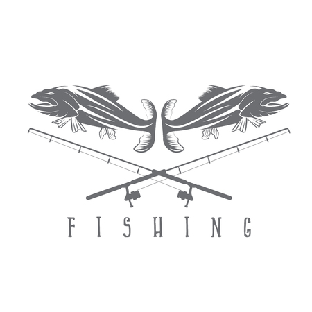 largemouth: vintage fishing vector design template with trout Illustration