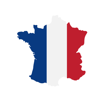 tricolor: vector illustration of  tricolor flag France on the map