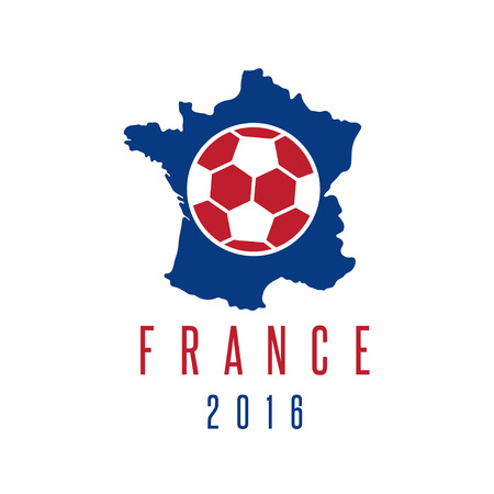 european championship: football european championship 2016 in France vector design template with map