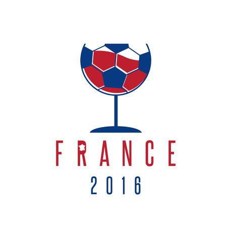 football european championship: football european championship 2016 in France vector design template with wineglass and ball