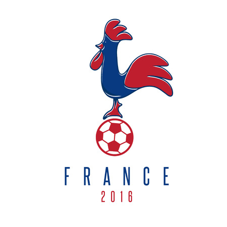 football european championship: football european championship 2016 in France vector design template with rooster