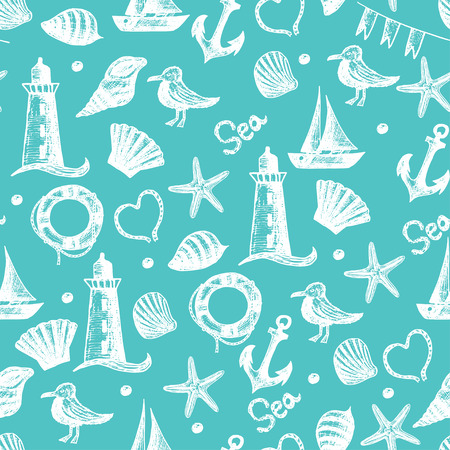 sand background: Seamless pattern hand drawn sea themed objects. Seagull,lighthouse,shell,boat. Vector illustration. Design template for greeting cards,tissue, wrapping paper etc.