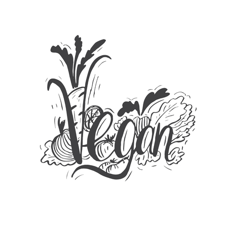 leaf vegetable: Hand drawn vintage quote :Vegan. Hand-lettering template. Quote can be used as a print, t-shirts, bags, greeting cards,poster etc.