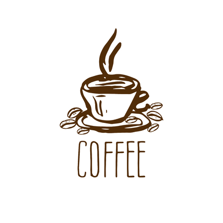 aroma: Hand drawn logo with coffee cup. Vector illustration