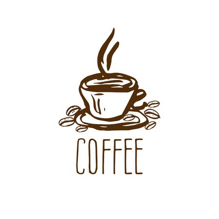Hand gezeichnet Logo mit Kaffeetasse. Vektor-Illustration