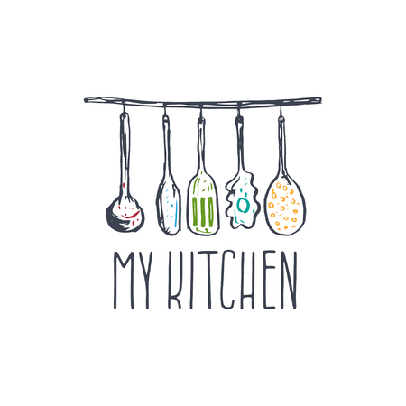 hand tool: Concept hand drawn logo illustration for themed kitchen with utensils. Vector template