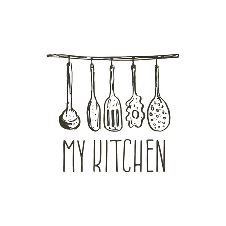 cooking utensils: Concept hand drawn logo illustration for themed kitchen with utensils. Vector template