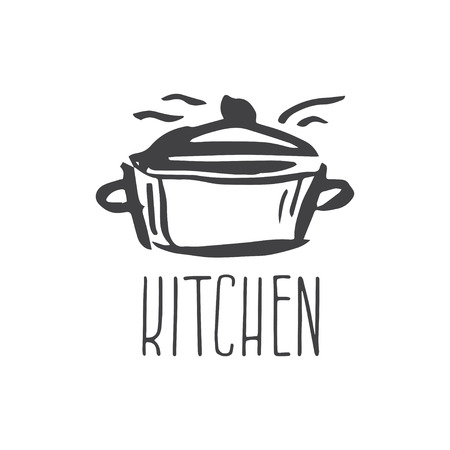 lifestyle dining: Hand drawn logo with kitchen pan. Vector illustration