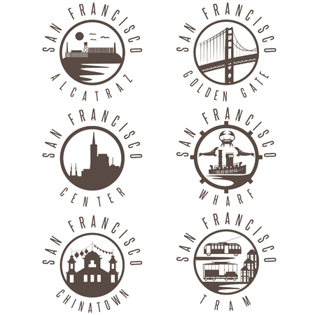 san francisco bay: Label set with landmarks of San Francisco California,USA . Wharf , Alcatraz,Business Center ,Golden Gate bridge and Chinatown illustrations.