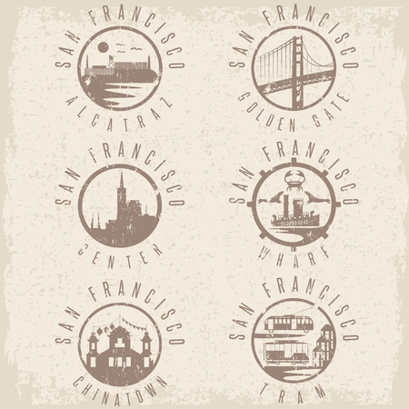 chinatown: Grunge label set with landmarks of San Francisco California,USA . Wharf , Alcatraz,Business Center ,Golden Gate bridge and Chinatown illustrations.