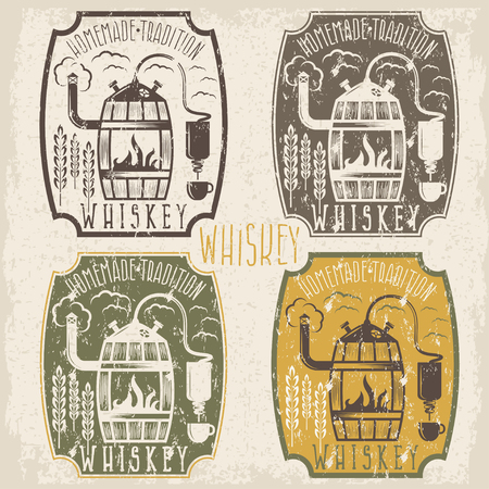 copper pipe: grunge vintage vector labels of whiskey with home alcohol machine Illustration