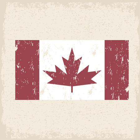 north american: flag of canada red maple leaf  grunge vector design template