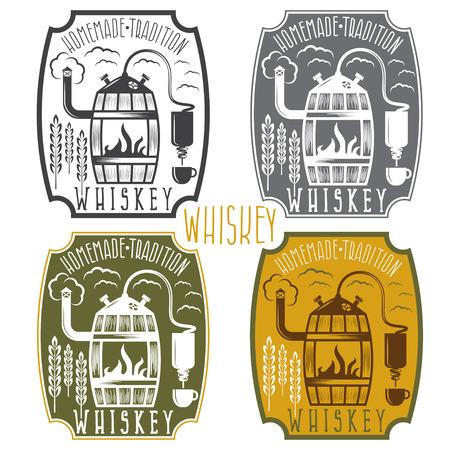 etiquetas vector vendimia de whisky con máquina de alcohol en casa