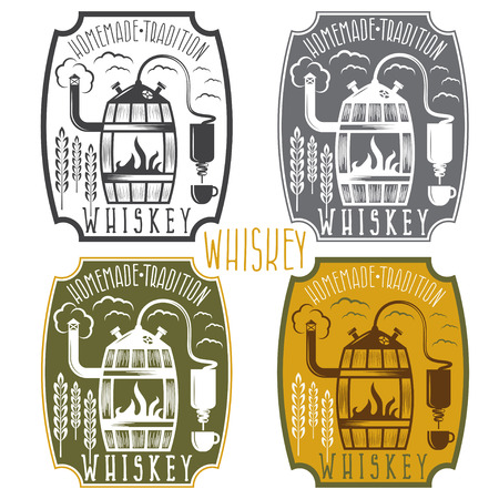 copper pipe: vintage vector labels of whiskey with home alcohol machine