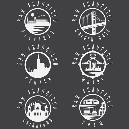 chinatown: Label set with landmarks of San Francisco California,USA . Wharf , Alcatraz,Business Center ,Golden Gate bridge and Chinatown illustrations.