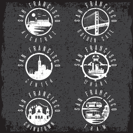 alcatraz: Grunge label set with landmarks of San Francisco California,USA . Wharf , Alcatraz,Business Center ,Golden Gate bridge and Chinatown illustrations.