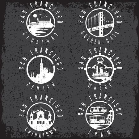 chinatown: Grunge label set with landmarks of San Francisco California,USA . Wharf , Alcatraz,Business Center ,Golden Gate bridge and Chinatown illustrations.