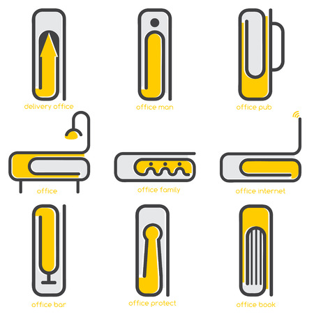 paper delivery person: simple vector concept web icons on office theme with different form of paper clips Illustration