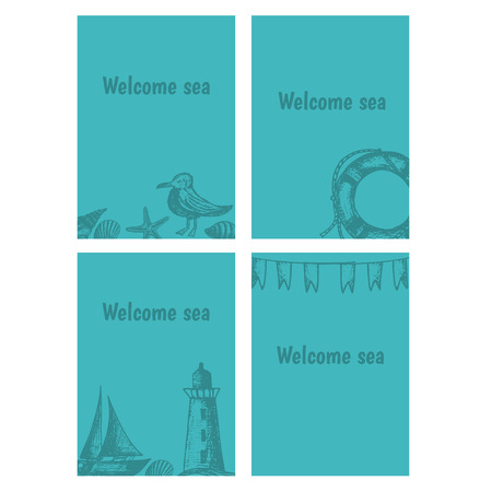 sings: Hand drawn flyers with sings on theme sea. Vector illustration