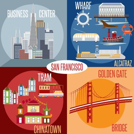 アメリカ合衆国カリフォルニア州サンフランシスコのランドマークのベクトルでフラットなデザイン。ワーフ、アルカトラズ、ビジネス センター、