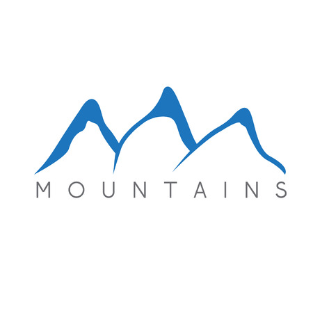 snow climbing: simple vector illustration of the abstract mountains