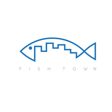 wharf: fish town concept vector illustration design template