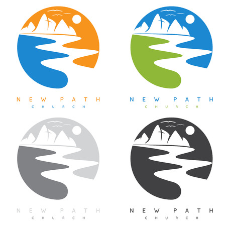 new path: abstract mountains and river in new path church concept vector labels Illustration