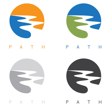 creek: abstract path or river labels set vector illustration