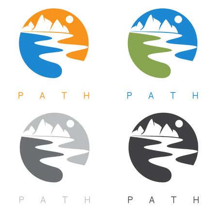 creek: abstract mountains and river labels set vector illustration