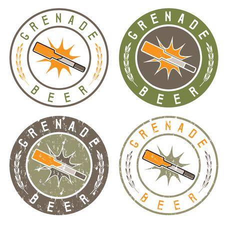 bombshell: vintage labels set with bottle of beer in form of grenade