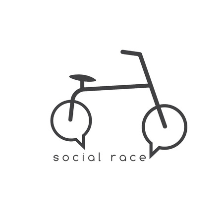spoked: social race vector concept with bike and chat bubbles
