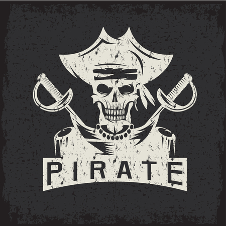 privateer: skull captain pirate in hat with swords grunge vector design template Illustration
