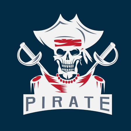 privateer: skull captain pirate in hat with swords vector design template
